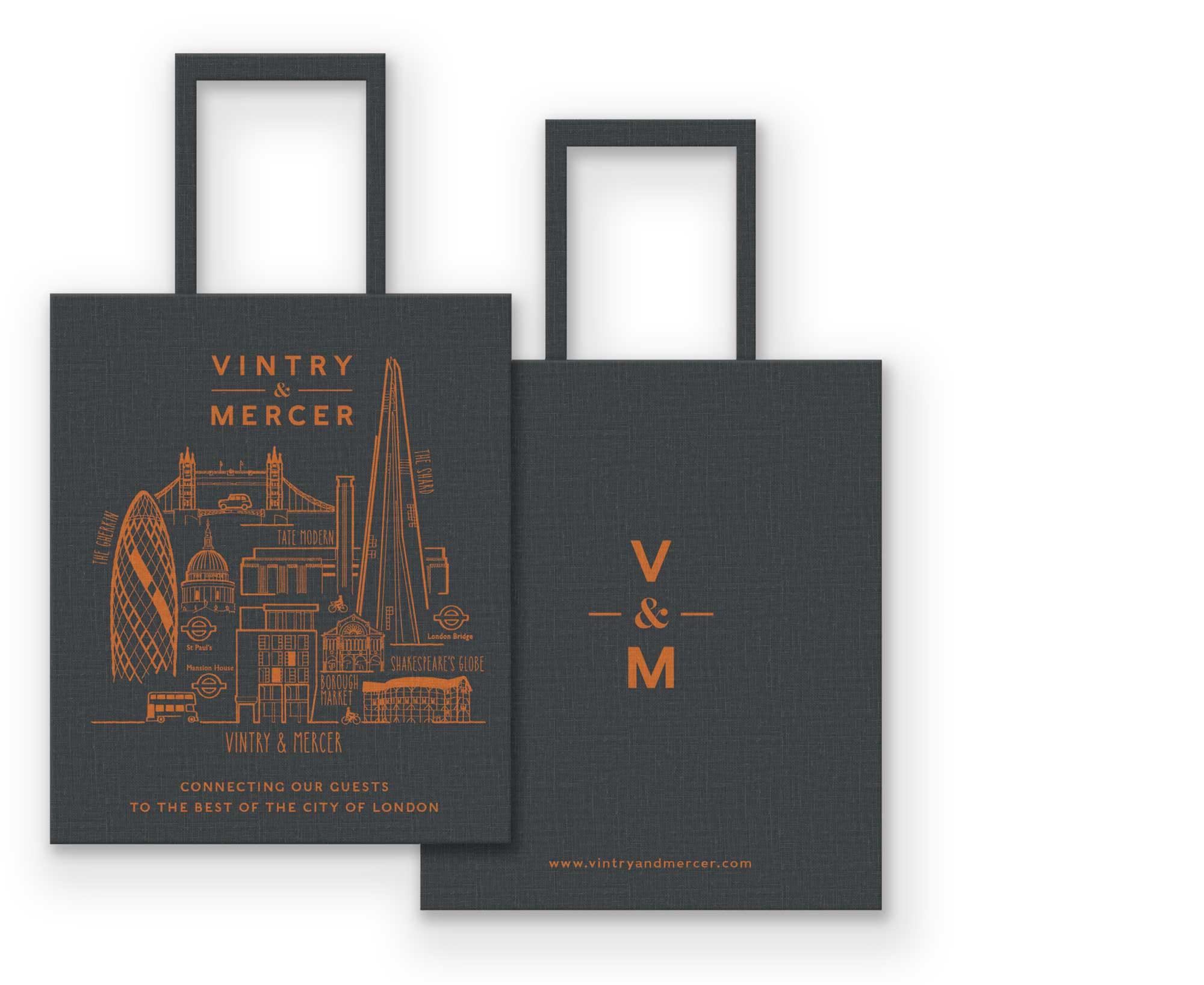 Vintry & Mercer Hotel Tote Bag design